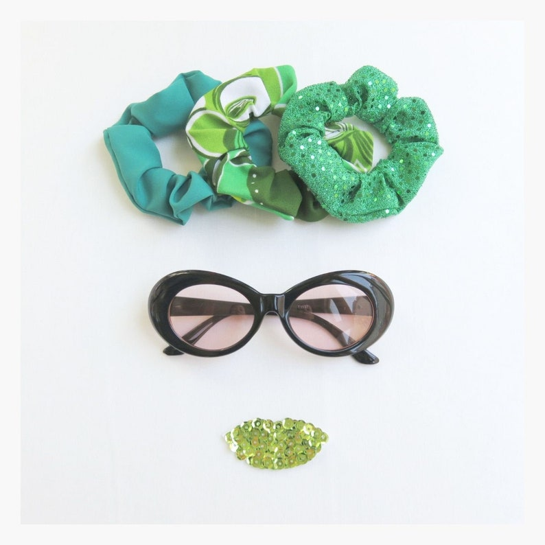 Green Scrunchies  Set of 3  Upcycled  Sequins  Vintage image 0