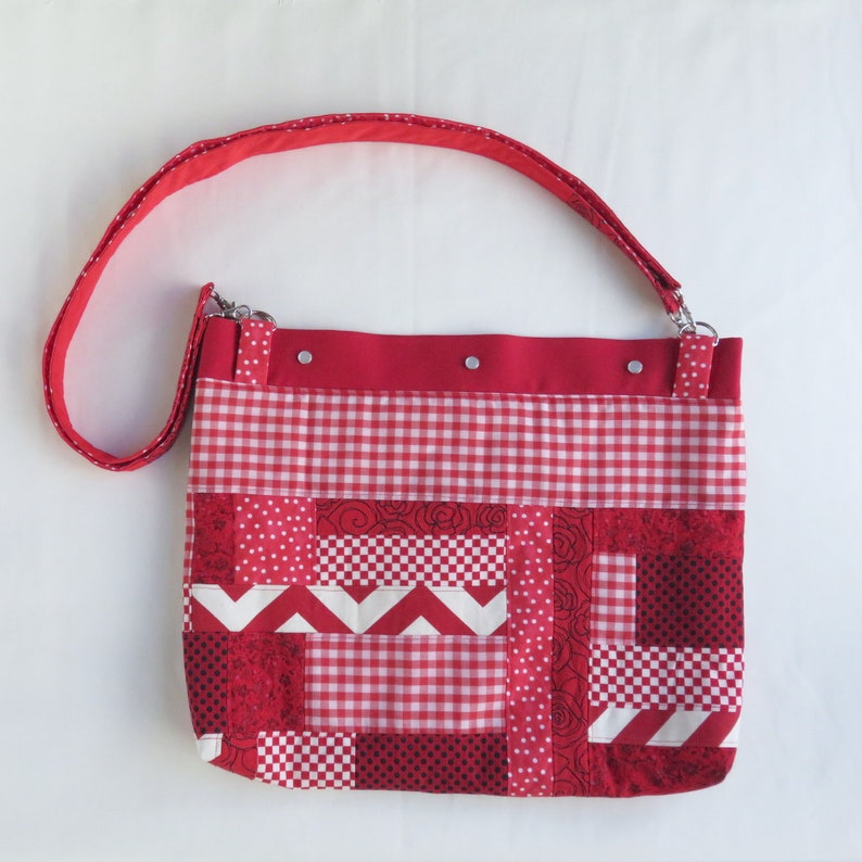 Roy G Biv Collection Eco Friendly Red Patchwork Lap Top Bag