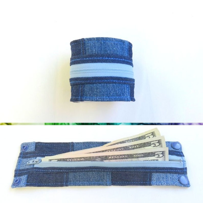 Wrist Wallet with Zipper  Denim Patchwork  Upcycled  Travel image 0