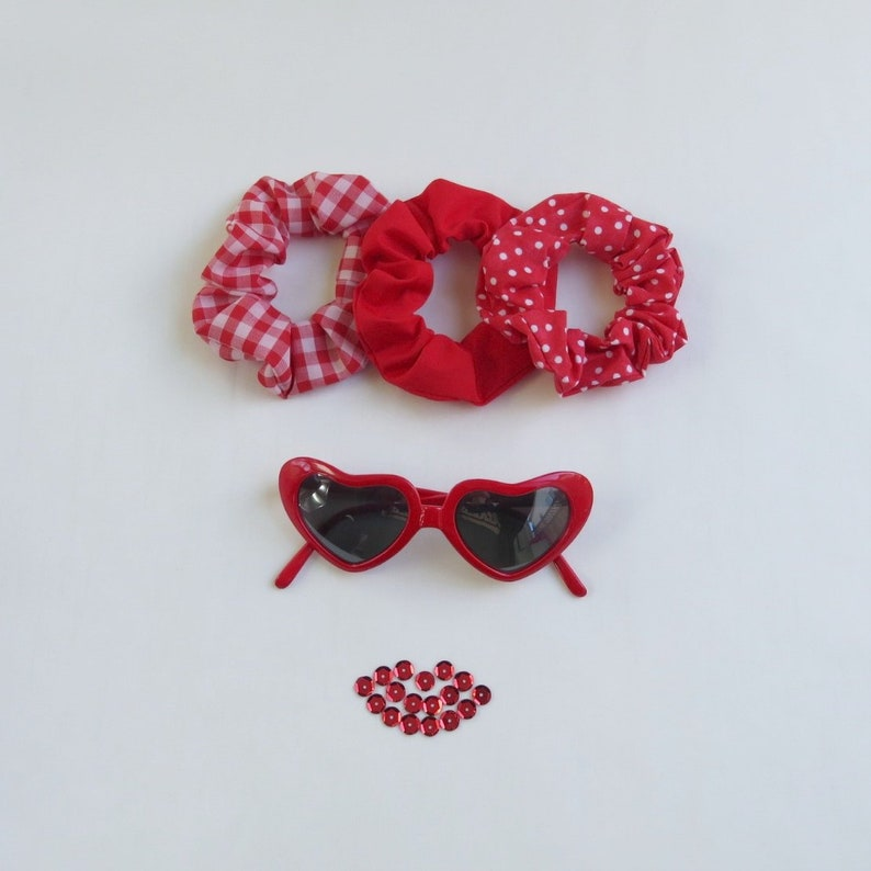 Red Scrunchies Set  3 Pieces  Recycled  Cotton  image 0