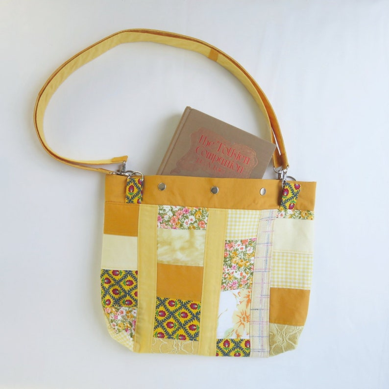 Shoulder Bag Purse  Yellow Patchwork  Upcycled  Roy G Biv image 0