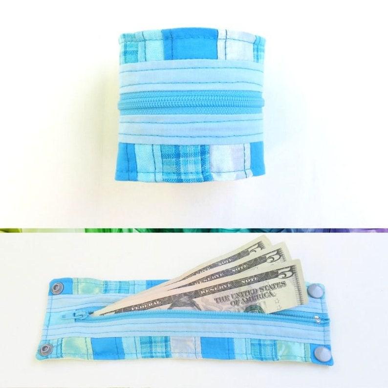 Cuff Bracelet Wrist Wallet  Blue Patchwork  Upcycled  Roy G image 0