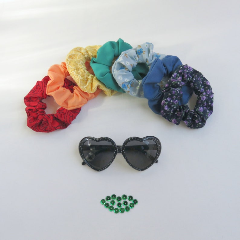 Scrunchies for Hair  Set of 7  Rainbow  Upcycled  Eco image 0