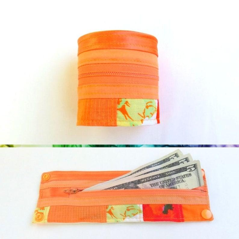 Travel Wrist Wallet  Orange Patchwork  Upcycled  Roy G Biv image 0