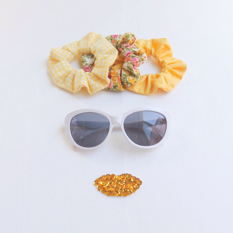 Yellow Scrunchies Set  3 Pieces  Recycled  Cotton  image 0