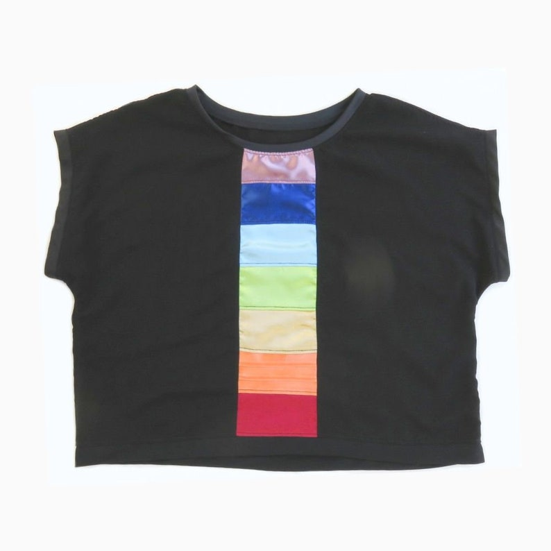 Rainbow Crop Top  Small  Patchwork  Eco Friendly  Roy G image 0