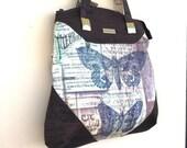 Brown Shoulder Bag, Large Bag, Handbag, Purse, Fabric Bag, Blue Handbag, Fabric and Cork