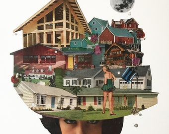 House Hat Collage Archival Artist Print-Open Edition-11x14-Stay at Home Order Response Art-de Young Museum Open Exhibit
