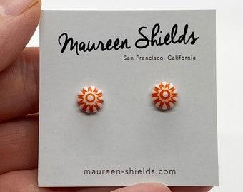 Pair of Tiny Orange Vintage Lucite Stud Earrings