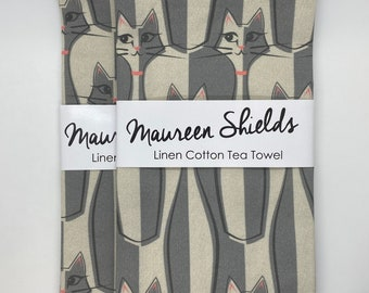 Siamese Cat/Bowling Pin/Mid Century Modern Tea/Kitchen Towel-Housewarming-Holiday-Mother's Day Gift