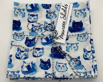Set of Four Cocktail Napkins~Blue Cat Faces~Mother's Day Gift-Housewarming-Shower Gift