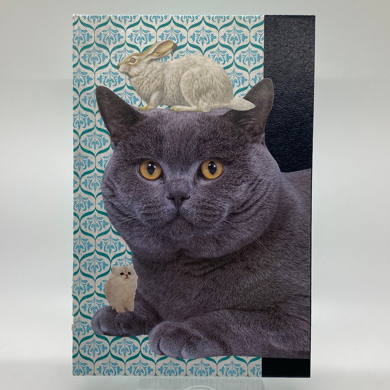 Grey Cat with Bunny-Original Collage Art Vintage Book Cover-Father/'s Day-Mother/'s Day-Housewarming Gift-Wedding
