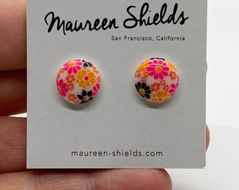 Pair of Vintage Glass Stud Earrings-Hot Pink & Black Floral-Stocking Stuffer-Mother's Day-Birthday Gift