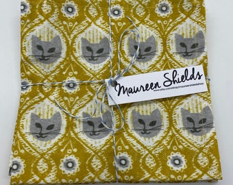 Set of Four Cocktail Napkins~Grey Cat Faces Vintage Wallpaper Style~Mother's Day Gift-Housewarming-Shower Gift