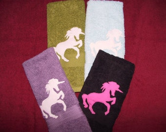 Unicorn Hand Towel: Magical Girlie Cute/soft colored towels/great gift idea/ Handmade Home Decor