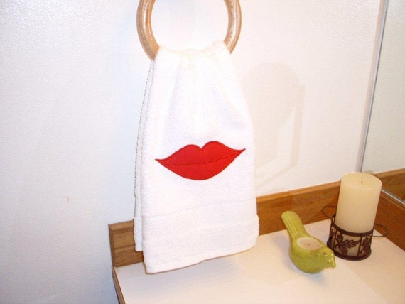 Sexy Lips Hand Towel Soft White Towel Gift Idea For Etsy