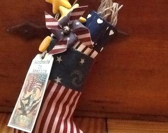 Patriotic 4th July Amricana mini stocking for red white blue decor