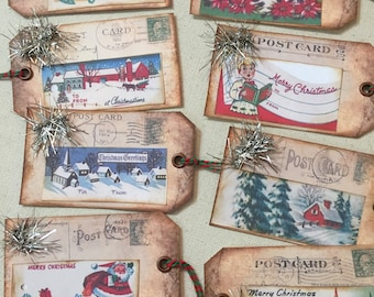 8 Rustic vintage style Christmas tags