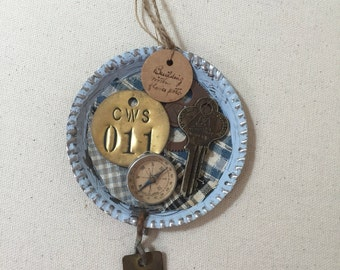 Steampunk altered art ornament with vintage finds