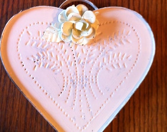 Shabby chic white washed tin heart with rose wall hanging