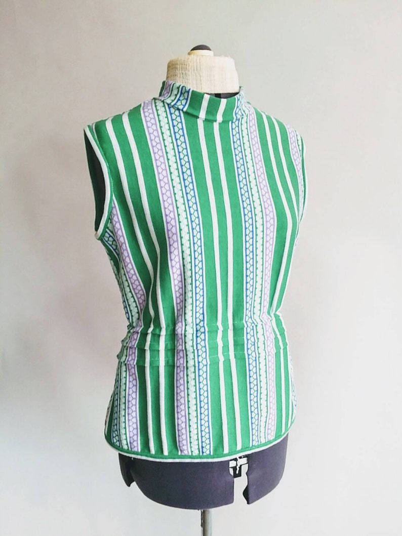 58038c901bb Green Striped Turtleneck Knit Top Handmade with Vintage Fabric