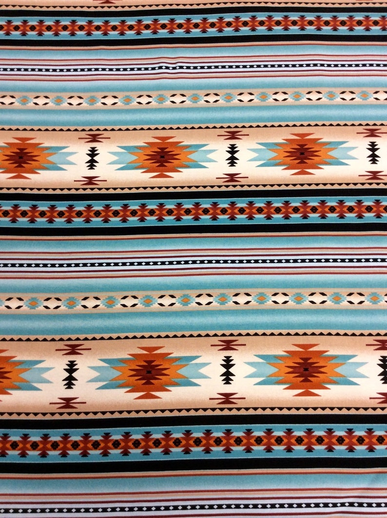 Elizabeth Studios Native Pattern Stripe Dusty Turquoise 1 yd and 3 inches