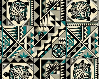 Elizabeth Studios Native Pattern Turtle Turquoise, 1 Yard