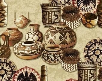 Adobe Baskets & Pottery, Cream 1 Yard