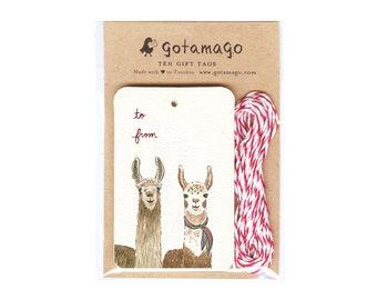 Two Llamas Gift Tags, Set o