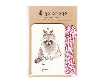 Antler Raccoon Gift Tags, Set of 10