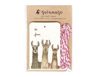 Three Llamas Gift Tags, Set of 10