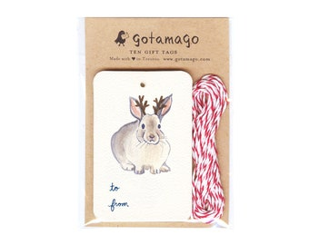 Antler Bunny Gift Tags, Set of 10