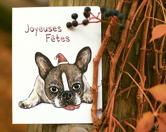 Joyeuses Fetes Frenchie Card Set of 8