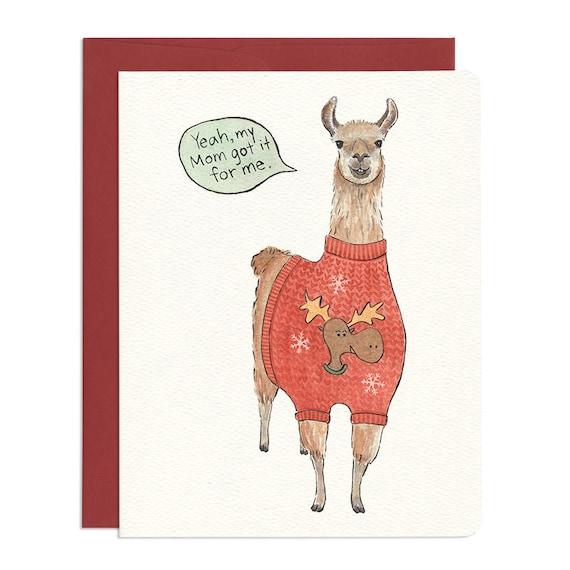 Ugly Sweater Llama Card