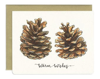 Pinecones Warm Wishes Card