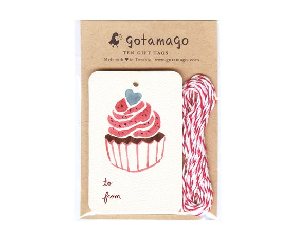 Set of 4 Gift Tags Food Tag Party Favors Handmade Gift Tags  Food Gifts For Cupcake Gifts Vintage Style Hello Cupcake Baking Tags