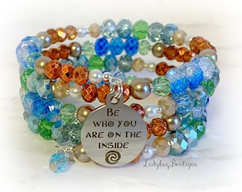 Moana Infinity Wrap Bracelet Disney Be Who You Are on the Inside Ocean Explorer Princess Memory Wire Island Cruise Sea Motivational Quote