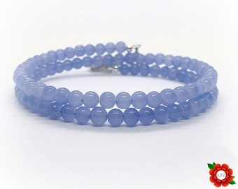 Choose Your Charm Stacker in Periwinkle Blue Memory Wire Wrap Glass Beaded Bracelet Silver Stretch Infinity Wrist Stacking Set Petite Beads