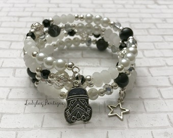 Star Wars Storm Trooper Bracelet Wrap Memory Wire ~ Galactic Empire Charm Dangle Black White Pearls Fandom Jewelry Imperial Army Navy