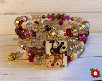 Disney Chip and Dale Infinity Wrap Bracelet Chipmunk Acorn Charm Mickey Minnie Mouse Ears Fall Holiday Accessories Gift Brown Red Pink