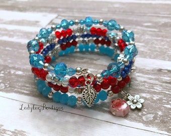 Lilo and Stitch-inspired Wrap Bracelet Memory Wire Girl or Adult ~ Disney Ohana Hawaiian Flower Red Blue White Silver Charm Dangle Bracelet