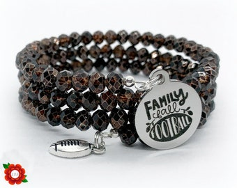 Family Fall Football Glass Beaded Wrap Bracelet Memory Wire Crystal Brown Silver Stainless Steel Charm Gift for Sports Wife Mom Ball Widow