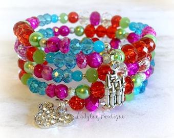 Disney Wrap Bracelet Holiday Lights Valentine Infinity Memory Wire Jewelry Accessories Rhinestone Minnie Mickey Ears Castle New Year Charm