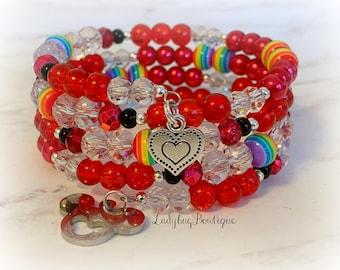 Rainbow Pride Infinity Glass Beaded Wrap Bracelet Disney Gay Days Mickey Minnie Mouse Ears Bow Charm Epcot Festival Rainbow Accessories