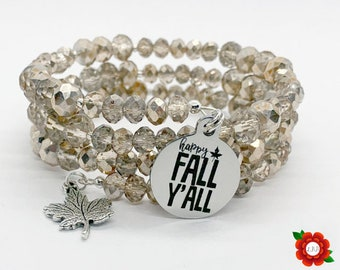 Happy Fall Y'all Glass Beaded Wrap Bracelet Crystal Champagne Gold Silver Stainless Steel Charm Autumn Leaves Thanksgiving Maple Leaf