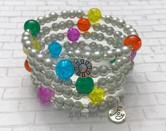 Inside-Out-inspired Glass Czech Orb Emotions Memory Wire Wrap Cuff Bracelet Joy Disney Pixar Charm Pearl Cosplay Outfits Accessories