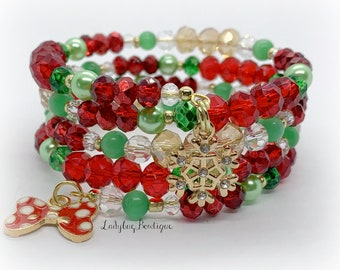 Holiday Minnie Wrap Bracelet Winter Snowflake Mouse Ears Polkadot Hair Bow Rhinestone Charm Christmas Disney Lover Gift Red Green Tree Gold