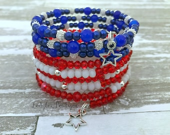 Patriotic Flag Wrap Bracelet Memory Wire Girl or Adult Stars and Stripes Red Blue White Silver Charm Dangle Bracelet July 4th Fourth of July