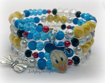 Donald Duck Wrap Bracelet Disney Infinity Memory Wire Sailor Charm Mickey Mouse Cruise Friends Ears Birthday Accessories Red Blue Yellow