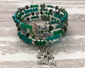 Haunted Mansion Wraparound Bracelet Memory Wire Disney Villain Halloween Bat House Charm Green Foolish Mortal Hitchhiking Ghosts